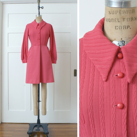 vintage 1970s bright pink dress • mod style double