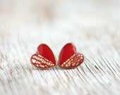 Stud earrinngs - Red Gold Hearts