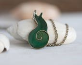 Snail Necklace - Emerald