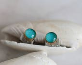 Tiny stud earring - Turquoise