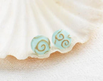 Earring Studs - Round Mint Posts