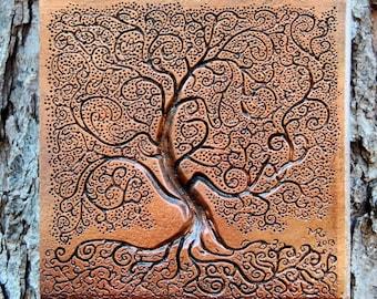Tree Of Life Garden Gift Stone Sculpture, Rustic Tree Sculpture Garden Art  Wall Plaque,