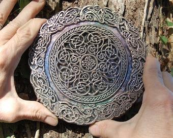 Celtic Knot Mandala Stone Sculpture, Garden Gifts, Irish Gifts, Garden Art Decor