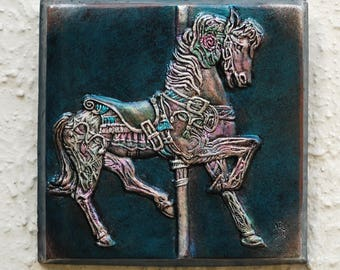 Carousel Pony Horse Art Gift, Stone Wall Plaque, Fantasy Garden Sculpture, Cast Stone Art, Horse Art