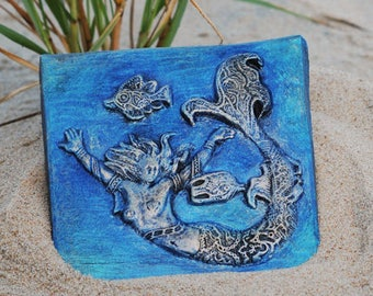 Mermaid Wall Plaque Stone Sculpture, Handmade Art Mermaid, Summer Outdoors Beach Art, Ocean Bathroom Decor
