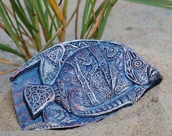 Fish Fantasia Stone Art, Wall Plaque, Beach Art, Tropical Fish Art Garden Sculpture