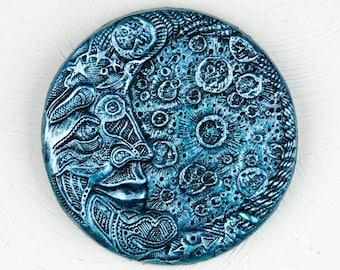 Blue Moon Stone Garden Art, Moon Sculpture, Man in the Moon Home Decor, Fence Art, Wall Decor. Blue Moon Art Wall Plaque