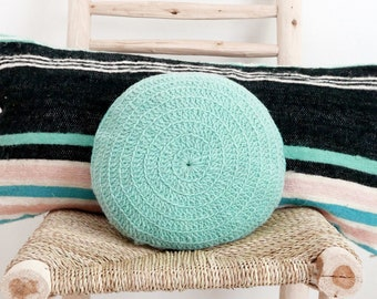 Round Pillow Crochet Wool - by hand dyed in blue