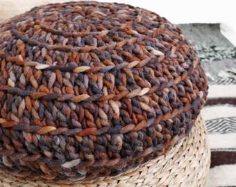 Ecru Thick Cotton Big Floor Cushion Crochet