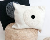 Moroccan pillow cover - wool natural undyed - Textured Circles - small