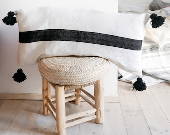 Moroccan POM POM Cotton Pillow Cover - Extra Long in Black stripe
