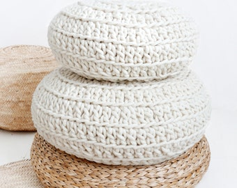 Big Crochet Floor Cushion thick wool - Natural undyed