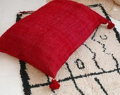 Giant Wool Floor Cushion with pompoms - Red