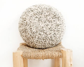 Round Pillow Crochet Wool - Natural undyed - Two tones