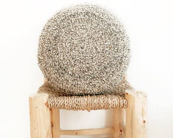 Round Pillow Crochet Wool - Natural undyed - Two tones - Dark