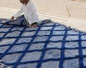 Large Moroccan Wool Rug - SHADAOUI Kilim - Diamonds Blue