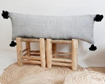 Long Moroccan POM POM Cotton Pillow Cover -   Black and White Diamond
