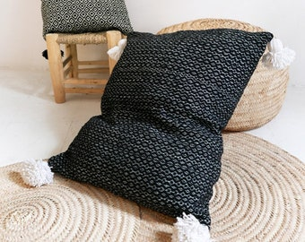 Big Moroccan POM POM Cotton Pillow Cover - Black and White