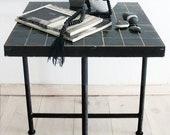 """Moroccan """"Zellij"""" Side Table - Black"""