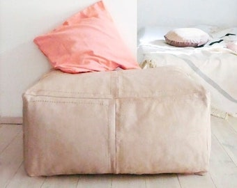 Giant Moroccan Natural Leather Pouf