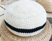 Crochet pouf thick wool - Natural undyed and black stripe