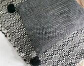 Big Moroccan POM POM Cotton Pillow Cover - Black and White - Zigzag