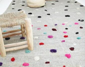 Moroccan Wool Rug - Circles colored wool