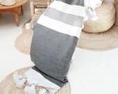 Moroccan Blanket POM POM Cotton - Grey stripes