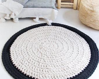 Piso de Alfombra redonda crochet 100cm