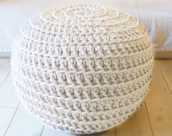 PUF gigante super ganchillo - grueso de algodón - crudo