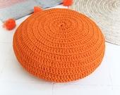 Floor Cushion Crochet - Outdoor - Orange