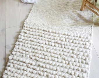 Handwoven Wool Rug Ecru - Natural color undyed wool - Two Textures