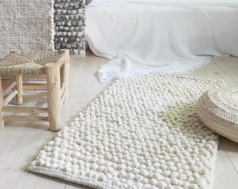 Handwoven Wool Rug Ecru - Natural color undyed wool