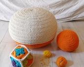 Pouf Crochet  small - ecru and orange