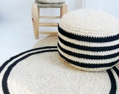 Round Rug floor crochet- thick wool - Natural undyed and black stripes
