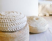 Floor Cushion Crochet - Thick Cotton -  Ecru