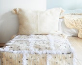 Medium Moroccan POM POM pillow cover - wool natural undyed