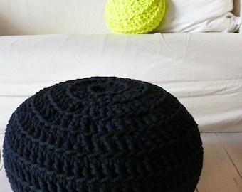 Pouf Crochet - Thick Cotton - Black