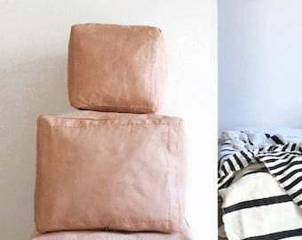 Puf de cuero marroquí - cuadrado pequeño