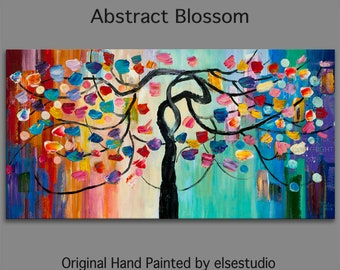 "Art, Painting, oil, Tree, oil painting, Colorful Home Art, modern wall painting, huge art abstract art canvas, Moody art, 48"" x 24"""
