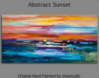 "Huge original Oil painting Modern deco Impasto Texture Abstract Sunset Painting 48"" x 24"""