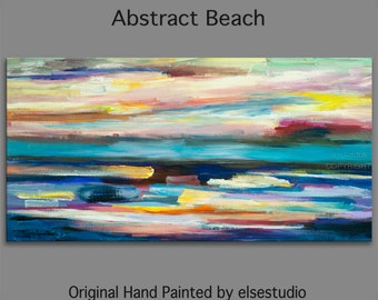 "Huge original Oil painting Modern deco Sea Sunset Abstract Painting 48"" x 24"""