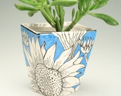 Planter Sunflower Painting All Around, Has Drain Hole, Plant Holder, Herb Flower Pot Container, Turquoise Blue Pottery, Twist Shape Ceramics