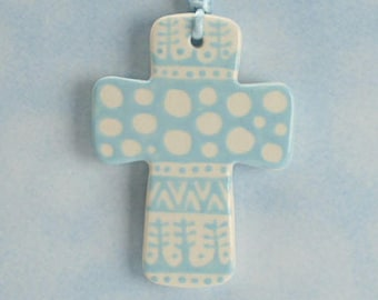 Handmade Ceramic Cross Ornament, Light Blue and White Cross, Confirmation Cross, Christian Ornament, Baptism Cross, Pottery Cross