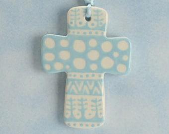 Handmade Ceramic Cross Ornament, Light Blue and White Cross, Confirmation Cross, Christian Ornament, Baptism Cross, Pottery Cross