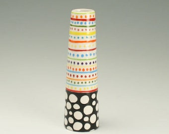 Small Cone Vase, Colorful Stripes Dots Vase, Ceramic Flower, Pottery Bud Vase, Black and White Polka Dots, Stripes, Office Desk Accessories