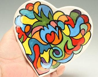 Handmade Heart Bowl, Mothers Day Heart Shaped Dish, Rainbow Colors Candy Dish, Scribble Design, Ceramic Heart, Polka Dot Ceramics
