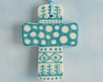 Handmade Ceramic Cross Ornament, Teal Blue and White Cross, Confirmation Cross, Christian Ornament, Baptism Cross, Pottery Cross