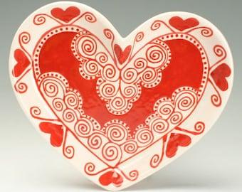 Heart Shaped Dish, Red and White, Wedding, Valentine Gift, Medium Heart Bowl, Valentines Day Gift, Candy Dish, Valentine Dinnerware
