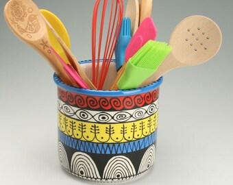 Large Mega Utensil Crock, Colorful Stripes, Black Designs, Ceramic Spoon Holder Jar, Pottery Utensil Holder, Kitchen Storage Container